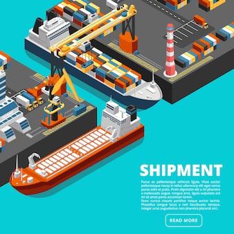 Plantilla isométrica de la terminal del puerto 3d con buques de carga, grúas y contenedores