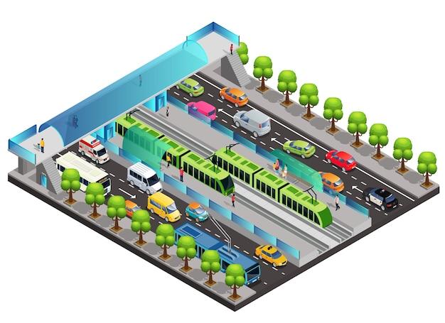 Plantilla isométrica de tráfico de la ciudad