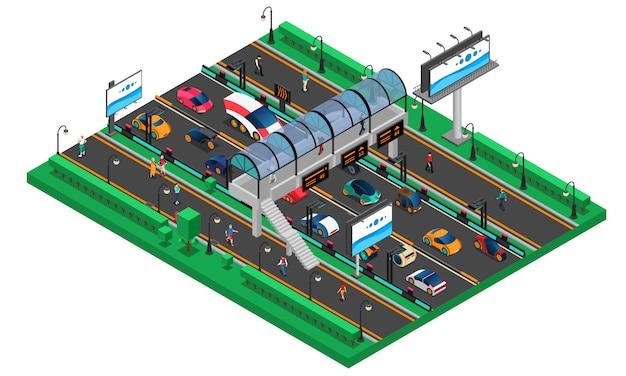 Plantilla isométrica de transporte futurista