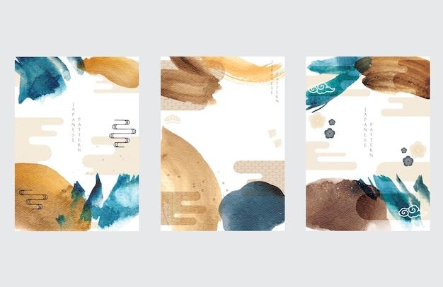 Plantilla japonesa con fondo de icono asiático. ilustración de trazo de pincel acuarela con patrón de onda.