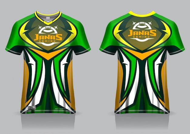 Plantilla de jersey de camiseta de juego esport, uniforme, vista frontal y posterior