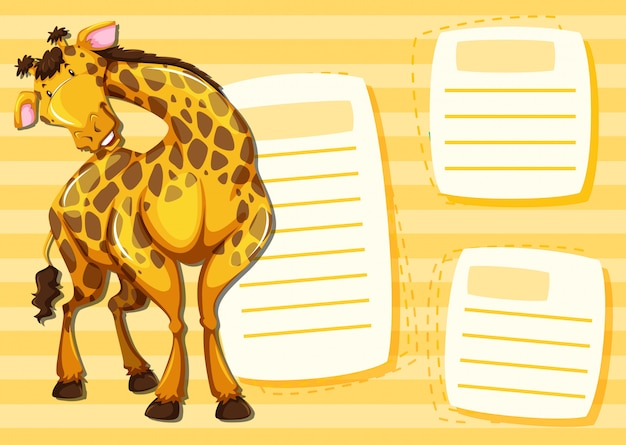 Plantilla de jirafa en nota.