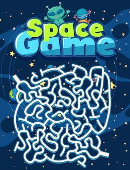 Plantilla de juego con alien en el espacio