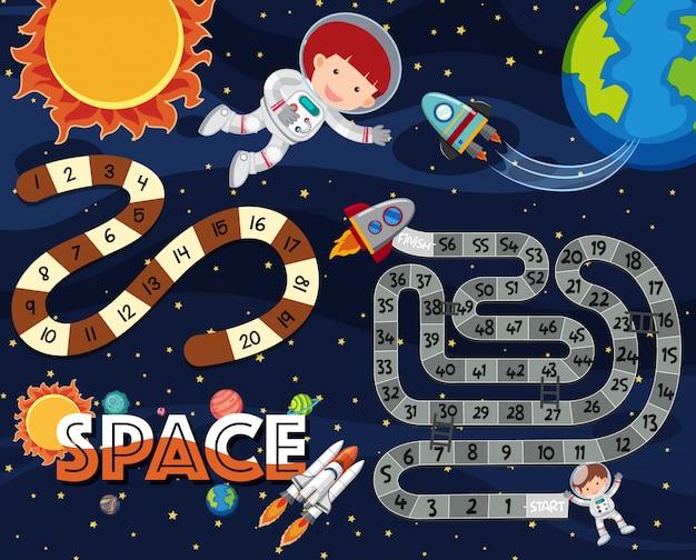 Plantilla de juego con astronauta y nave espacial en segundo plano