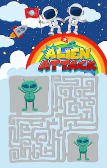 Plantilla de juego con astronautas y extraterrestres
