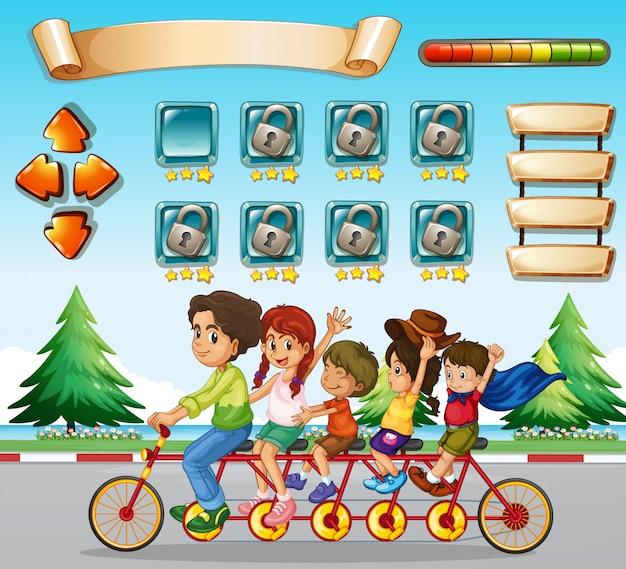 Plantilla de juego con bicicleta de montar en familia.