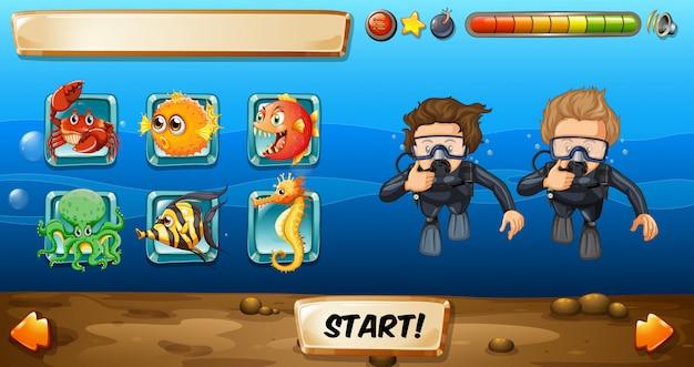 Plantilla de juego con buzos y peces.