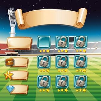 Plantilla de juego con campo de fútbol