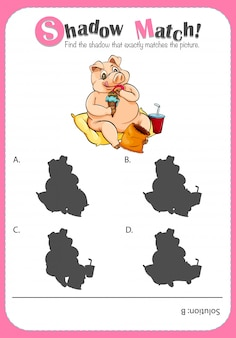 Plantilla de juego con cerdo a juego con sombras