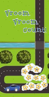 Plantilla de juego con coche y números en la carretera.
