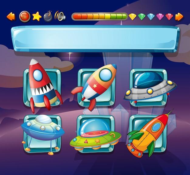 Plantilla de juego de computadora con naves espaciales