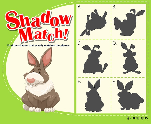 Plantilla de juego con conejo a juego