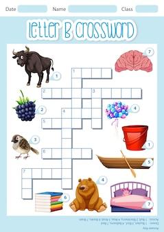 Plantilla de juego de crucigrama letra b