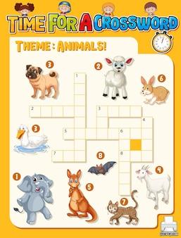 Plantilla de juego de crucigrama sobre animales