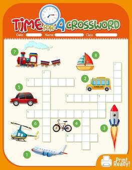 Plantilla de juego de crucigrama sobre transporte