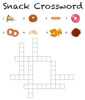 Una plantilla de juego de crucigramas tema de comida