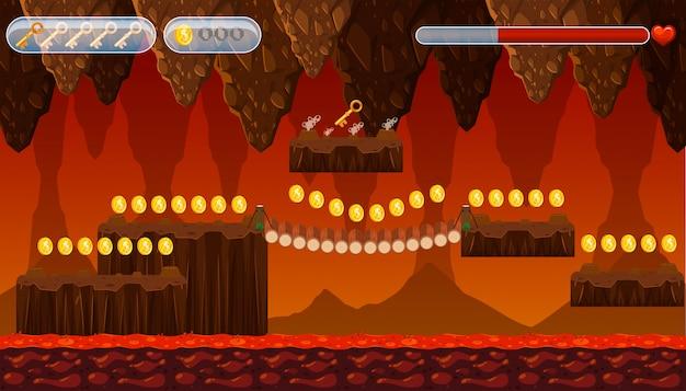 Plantilla de juego de una cueva de lava