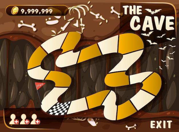 Plantilla de juego con cueva y murciélagos