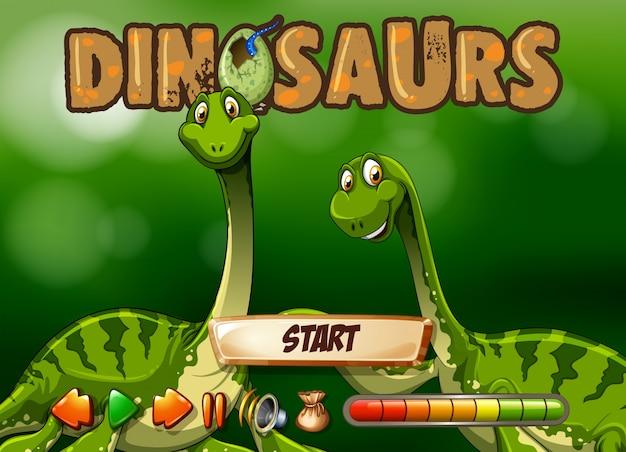 Plantilla de juego con dos dinosaurios