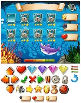 Plantilla de juego con escena submarina