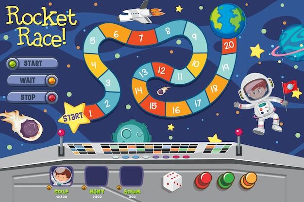 Plantilla de juego espacial con astronauta en el espacio