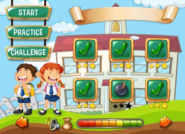 Plantilla de juego de estudiante en la escuela