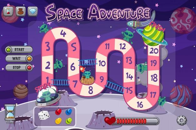 Plantilla de juego con extraterrestres en el espacio