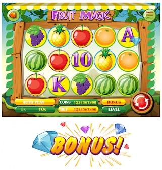Plantilla de juego con frutas