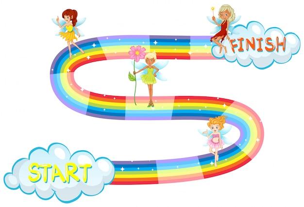 Plantilla de juego con hadas volando en el arco iris