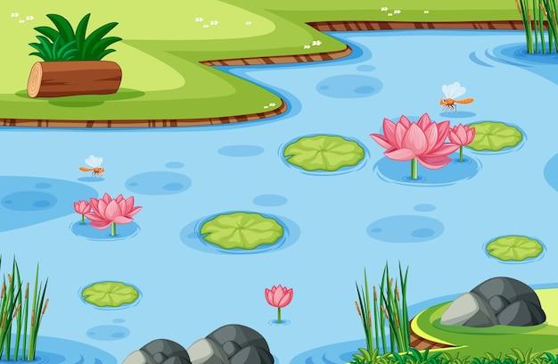 Plantilla de juego con hoja de loto en pantano en el bosque