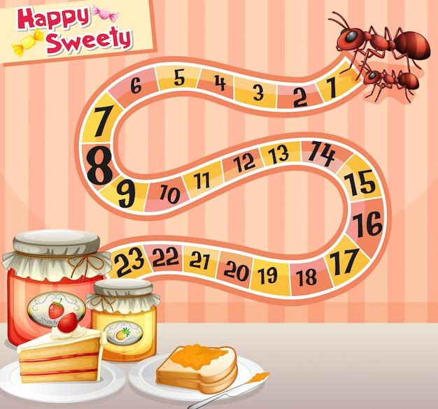 Plantilla de juego con hormigas y mermelada.