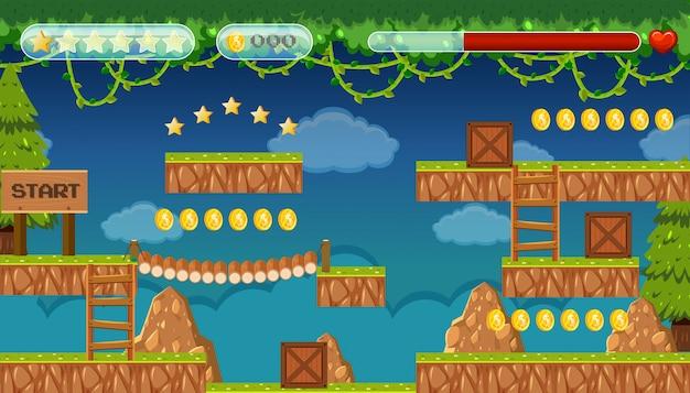 Una plantilla de juego de jungle jumping
