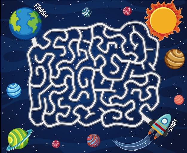 Una plantilla de juego de laberinto espacial