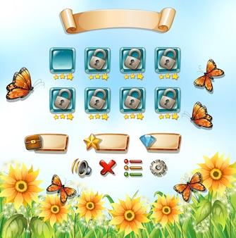 Plantilla de juego con mariposas en el jardín.