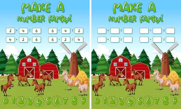 Plantilla de juego de matemáticas de granja con caballos y objetos de granja