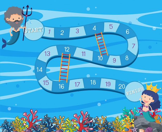 Plantilla de juego de mesa bajo el agua