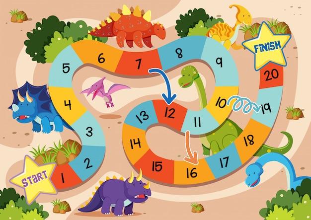 Plantilla de juego de mesa de dinosaurio plano