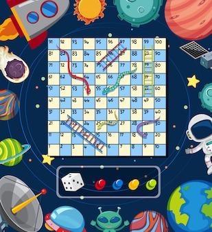 Una plantilla de juego de mesa espacial