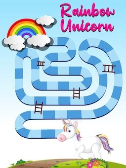 Plantilla de juego de mesa de unicornio arcoíris para niños en edad preescolar