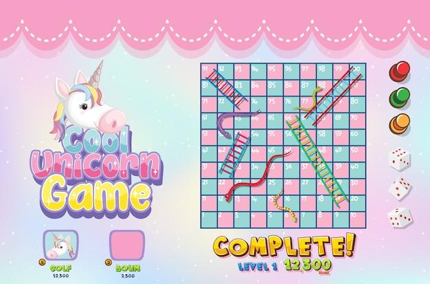 Plantilla de juego de mesa unicornio