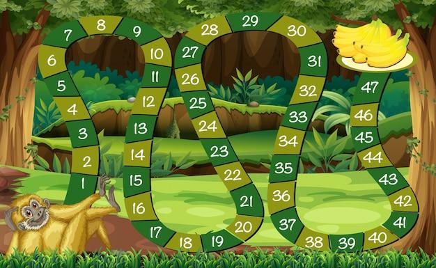 Plantilla de juego con mono en el bosque