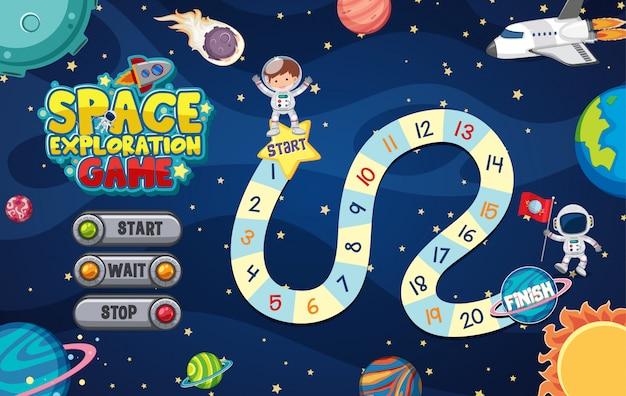 Plantilla de juego con muchos planetas en el fondo del espacio