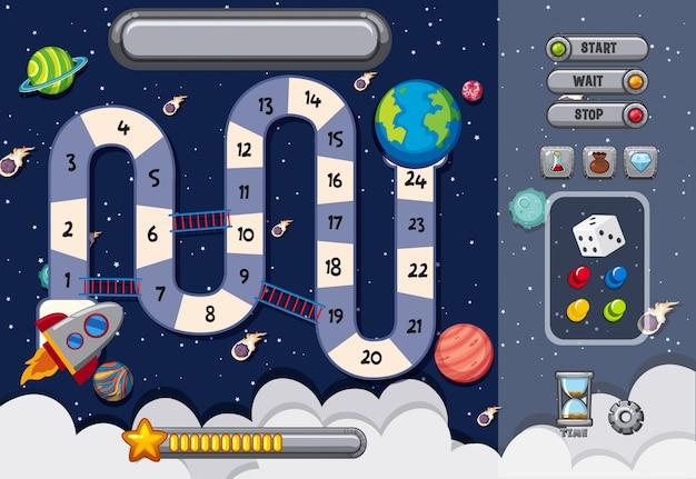 Plantilla de juego con muchos planetas