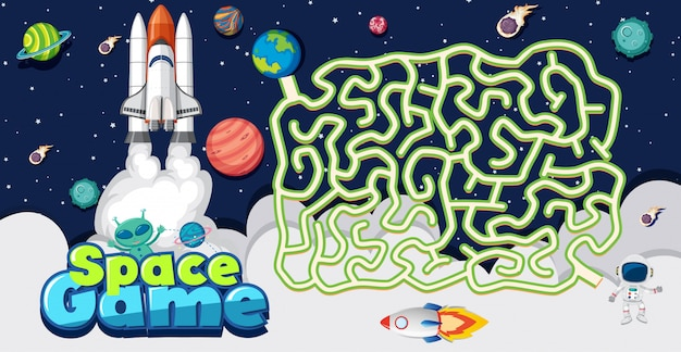 Plantilla de juego con nave espacial y muchos planetas
