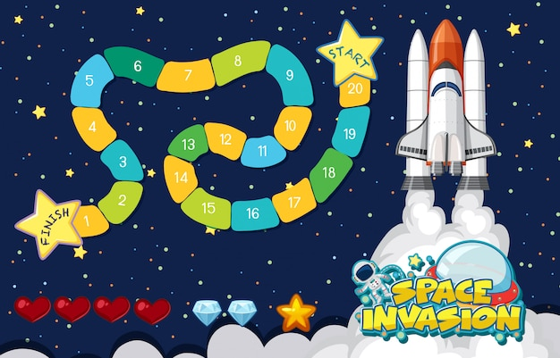 Plantilla de juego con nave espacial volando en el espacio