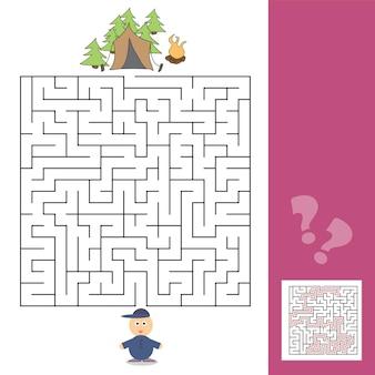 Plantilla de juego con niños acampando - ilustración con respuesta