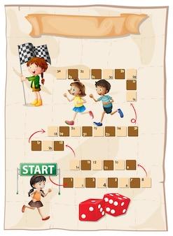 Plantilla de juego con niños corriendo en carrera