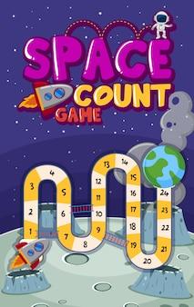 Plantilla de juego con números en el espacio