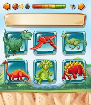 Plantilla de juego de ordenador con dinosaurios.