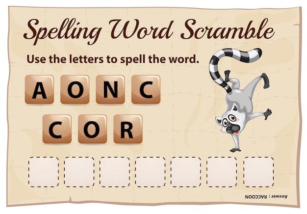 Plantilla de juego de ortografía scramble para mapache